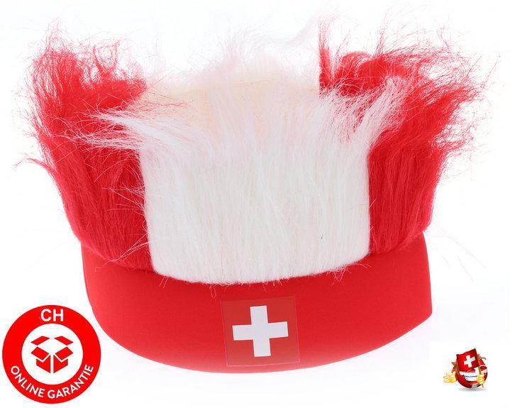 Schweiz Suisse Switzerland CH Kappe Mütze Stirnband FAN mit Haar Hopp Schwiiz Fussball Eishockey WM EM Tennis Handball Hockey Kleidung & Accessoires