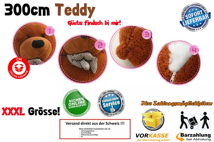 XXL XXXL Riesenteddybär Riesen Teddy Teddybär liegend sitzend 300cm Bär dunkelbraun Geschenk Weihnachten Kind Frau Freundin Antiquitaeten 2