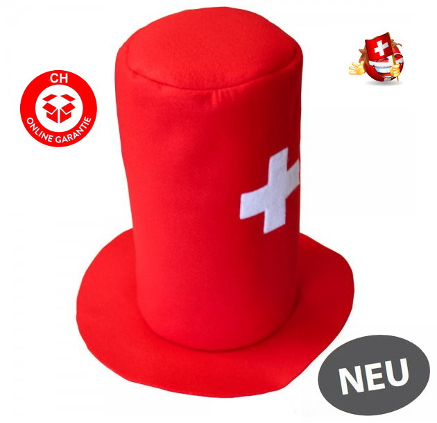 Zylinder Hut Cap Mütze Perücke Schweiz Fussball WM EM Hockey Tennis Fan Hopp Schwiiz Switzerland Suisse CH Party Fussball Russland Hockey WM Kleidung & Accessoires