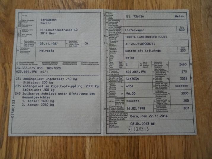 Toyota Landcruiser HZJ75 (190'000 km) Fahrzeuge 2