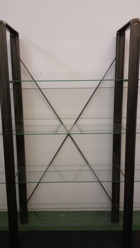 2 Regale Stahl lackiert mit je 4 Glasplatten Haushalt 3