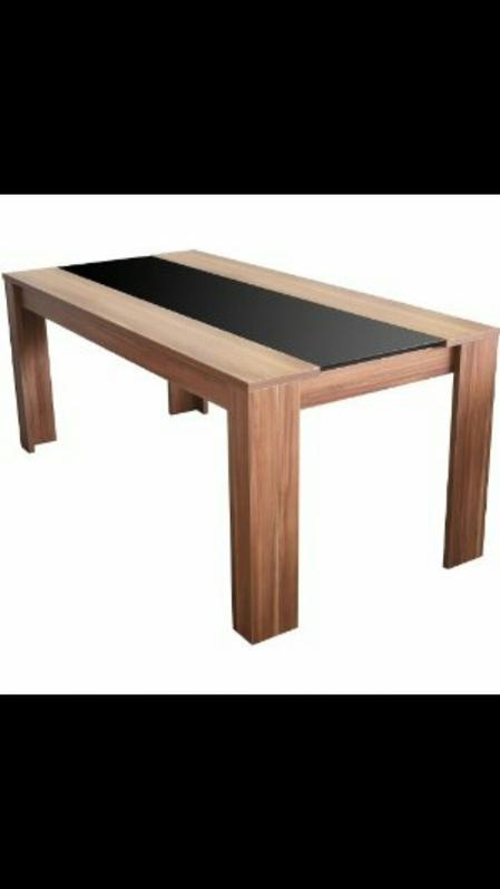 Esstisch, Holz/ schwarze Glasplatte Haushalt
