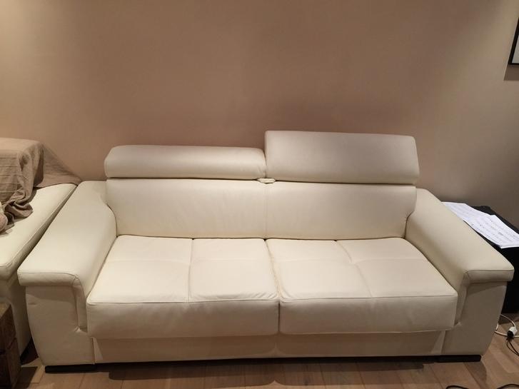 Pures weisses Leder Sofa - Bett - Schlafsofa Haushalt