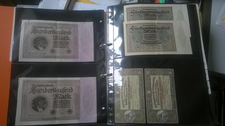 Reichbanknoten Deutschland 100000 und 500000 Mark Sammeln