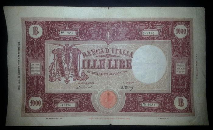 banconota 1000 lire 1946 Sammeln