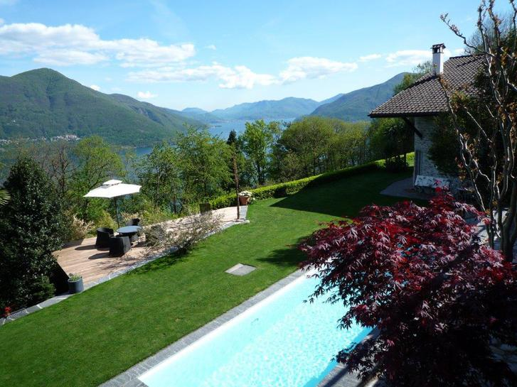 Affitto Villa sopra Brissago, piscina, giardino accesso macchina Immobilien