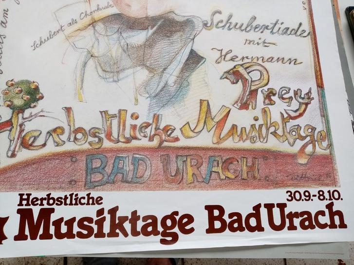 1980 Plakat  Kunst Dittrich Schubert   Bad Urach Sammeln 4