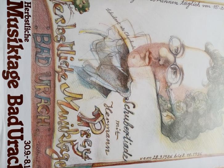 1980 Plakat  Kunst Dittrich Schubert   Bad Urach Sammeln 3
