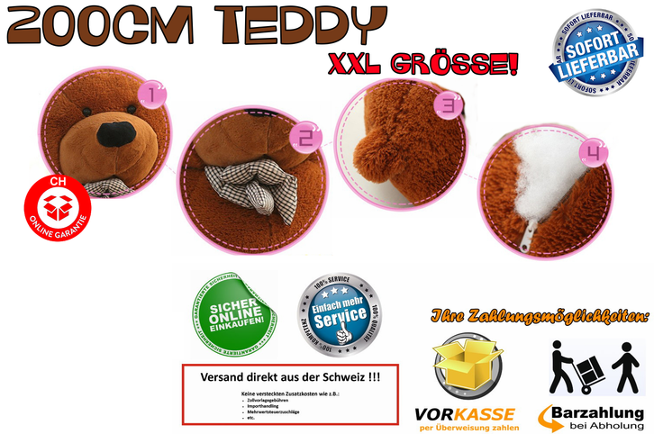 2 Meter Teddy XXL Teddybär 200 cm 2m Plüschtier Plüschbär Bär Ted Teddy Geschenk Frau Mädchen Girl Kind Kinder Dunkelbraun Baby & Kind 2
