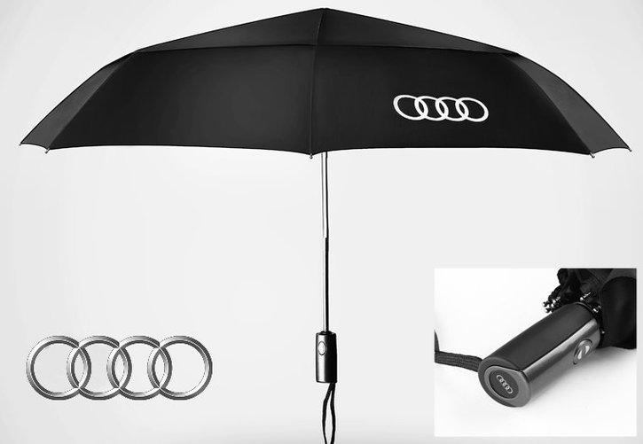 Audi Fan Regenschirm Taschenschirm Regen Schwarz Sport & Outdoor