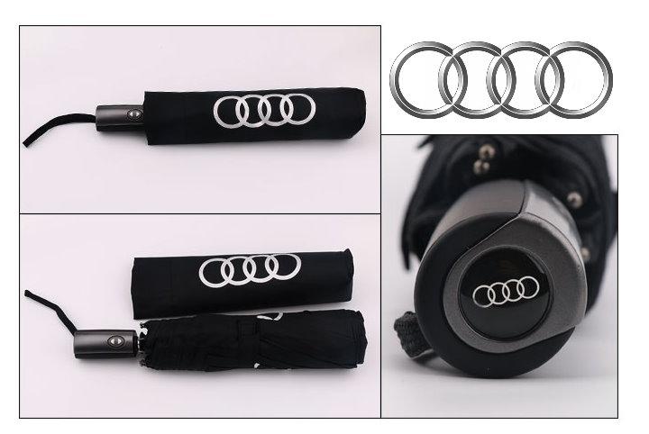 Audi Fan Regenschirm Taschenschirm Regen Schwarz Sport & Outdoor 2