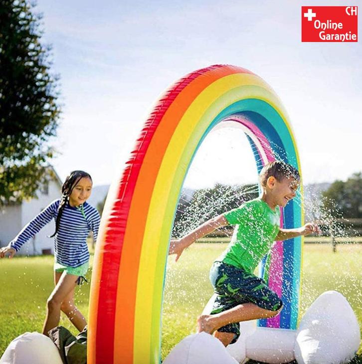 Aufblasbarer Regenbogen Wassersprinkler Spielzeug Wasser Sommer Garten Pool Wasserspielzeug Schweiz Garten & Handwerk 2