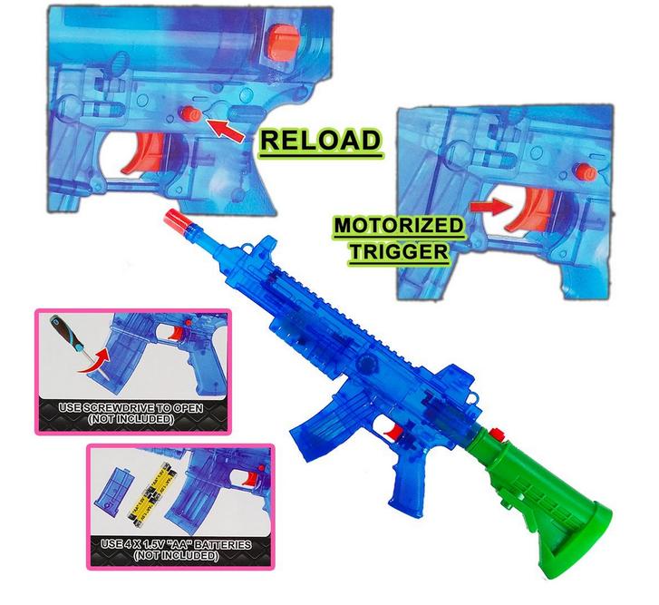 Batteriebetriebene Wasser-Spritzpistole LED-Lichteffekt Sound Wassergewehr Wasserpistole Sommer Spielzeug Kind Kinder Sport & Outdoor 2