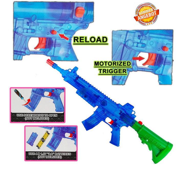 Batteriebetriebene Wasserpistole Wassergewehr Wasser Pistole Gewehr Spielzeug LED und Soundeffekte Sommer Kind Kinder Erwachsene Festival Schwimmbad Spass Baby & Kind 2