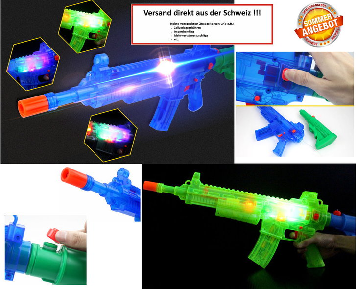 Batteriebetriebene Wasserpistole Wassergewehr Wasser Pistole Gewehr Spielzeug LED und Soundeffekte Sommer Kind Kinder Erwachsene Festival Schwimmbad Spass Baby & Kind 3