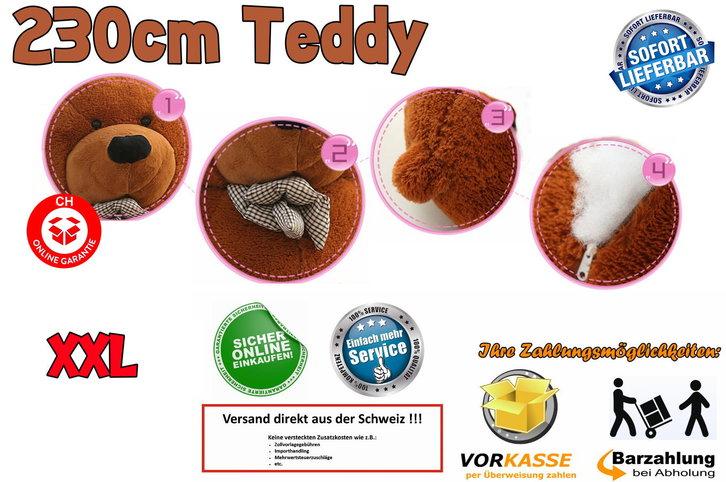 Biete: Mega XXL Teddy Teddybär 230cm Plüsch Plüschteddy Plüschbär Bär Kuschel Weihnachten Geschenk für Kind / Neu Baby & Kind 2