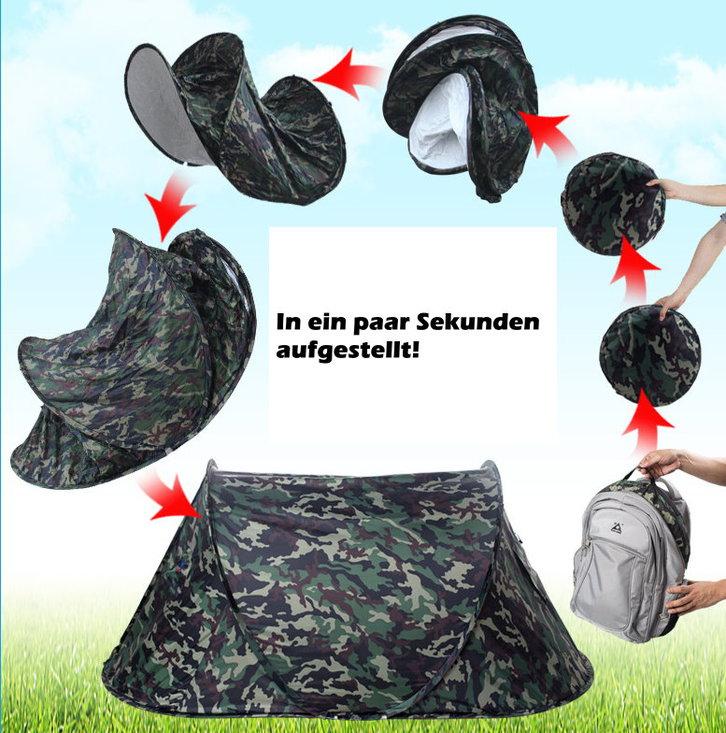 Camouflage Militär Zelt Pop-Up Wurfzelt Tarn Zält Camping Openair Outdoor Jagd kleines Packmass  Tickets & Gutscheine 2