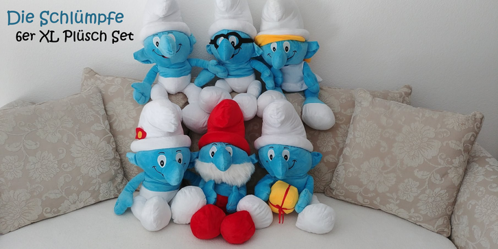 Die Schlümpfe 6er XL Plüschtier Set, Papa Schlumpf, Schlumpfine, Schlaubi 6er Fan Set XXL Geschenk Kind Spielzeuge & Basteln