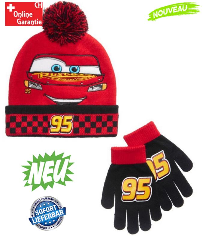 Disney Cars Lightning McQueen Boys Junge Wintermütze Mütze Kappe Beanie und Handschuh Handschuhe tolles Design Kindermütze Kleidung & Accessoires