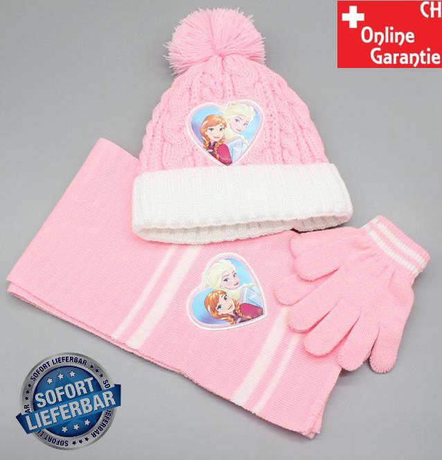 Disney Die Eiskönigin Frozen Mädchen Mütze, Schal und Handschuhe Set, Wintermützen für Kinder mit Anna und Elsa, warm, bequem, Bommelmütze Weihnachtsgeschenk für Mädchen Rosa Pink  Baby & Kind
