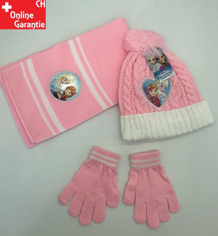 Disney Die Eiskönigin Mütze Beanie Schal und Handschuh Handschuhe Set Fan Mädchen Weiss Pink Rosa Baby & Kind