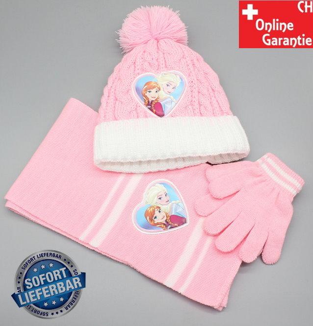 Disney Die Eiskönigin Set Mütze Schal Handschuhe für Mädchen Rosa Pink Anna & Elsa Warm Winter Sport & Outdoor
