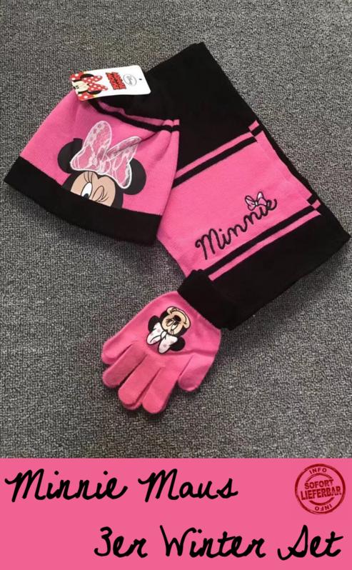 Disney Minnie Maus Minnie Mouse Mütze Cap Beanie Handschuhe Handschuhen Schal Winter Kleidung Set Winterset Kind Mädchen Girl Baby & Kind