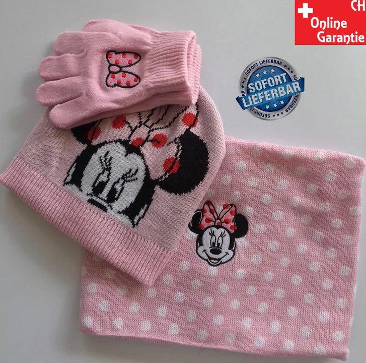 Disney Minnie Maus Minnie Mouse Winter Kleidung Mütze Beanie Schal Handschuhe Fan Set Mädchen Pink Rosa Kleidung & Accessoires