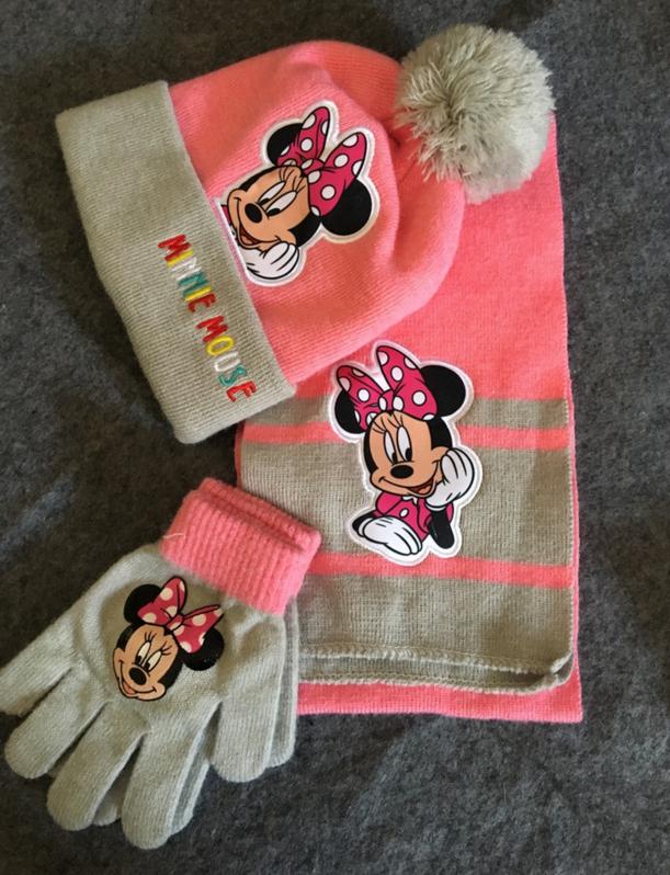 Disney Minnie Mouse Minnie Maus Bommel Mütze Schal Handschuhe 3-teilig Winter Set Kleidung Mädchen Bommelmütze Fan Accessoire Baby & Kind