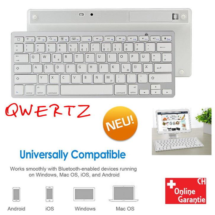 Drahtlose Bluetooth Tastatur QWERTZ Keyboard Schweiz Deutschsprachig Mini Funk Funktastatur Schnurlos iPad iOS Android Tablet Smartphone Handy Natel Sonstige