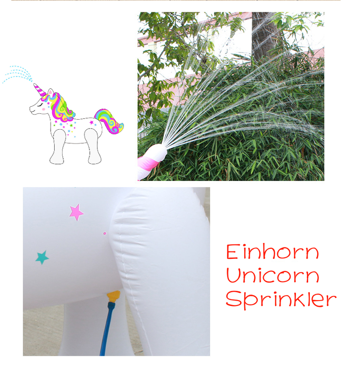 Einhorn Sprinkler Wasser Spielzeug Sommer Wasserspielzeug Unicorn Garten Badi Zuhause Gartenschlauch Sprinkleranlage Neu Baby & Kind 3