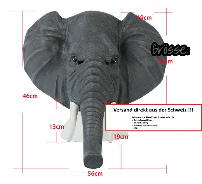 Elefanten Maske Elefante Elefant Elefantenmaske Tiermaske Schweiz Fasnacht Party Halloween Kostüm Kleidung & Accessoires 3