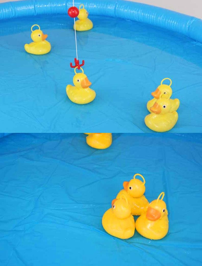 Enten Ente Angel Spiel Angelspiel Kind Kinder mit Aufblasbaren Pool und Angelrute Wasser Wasserspiel Spielzeuge & Basteln 2