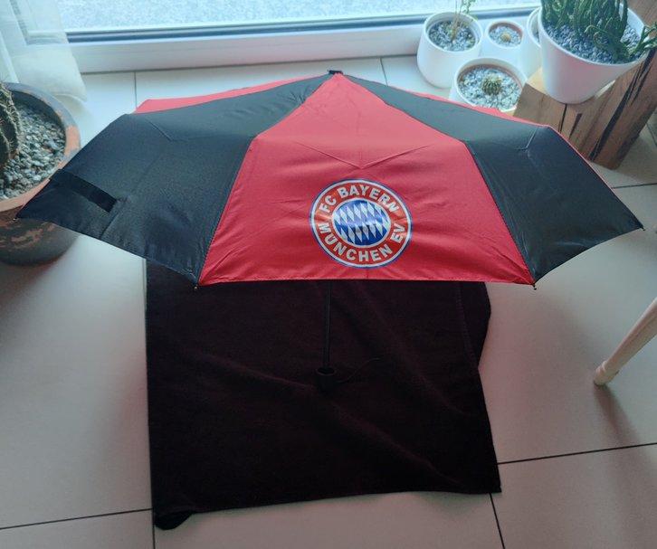 FC Bayern München Fan Regenschirm Taschenschirm Rot Schwarz FCB Accessoire Fanshop Kleidung & Accessoires 2