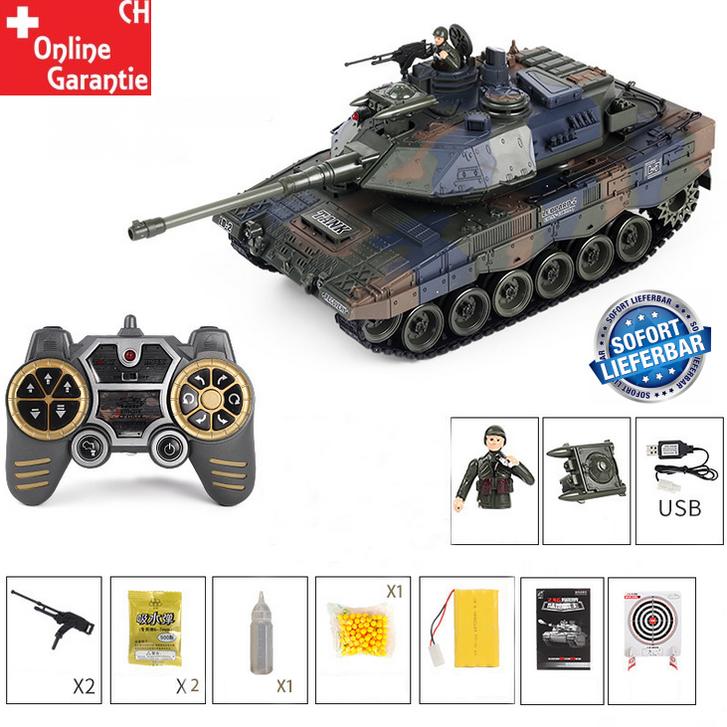 Ferngesteuerter Militär Panzer Tank RC Leopard Airsoft Softair BB Kugeln Schiess Funktion Spielzeug Spielzeuge & Basteln