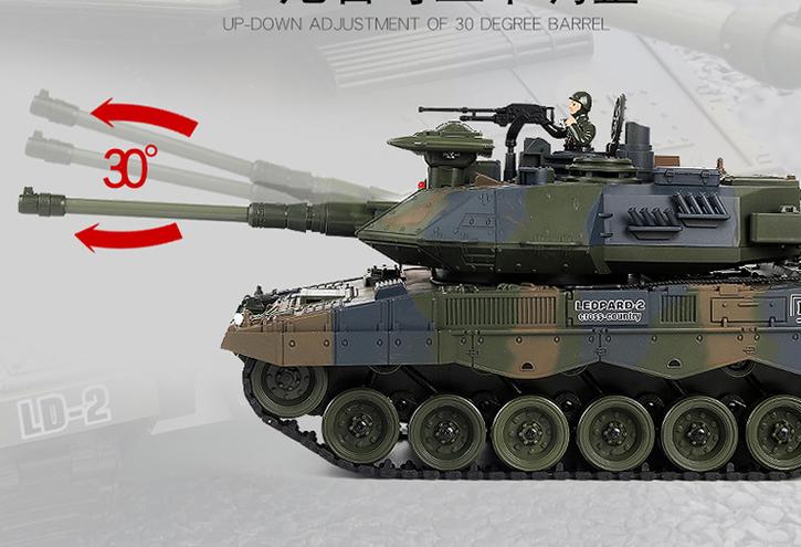 Ferngesteuerter Militär Panzer Tank RC Leopard Airsoft Softair BB Kugeln Schiess Funktion Spielzeug Spielzeuge & Basteln 2
