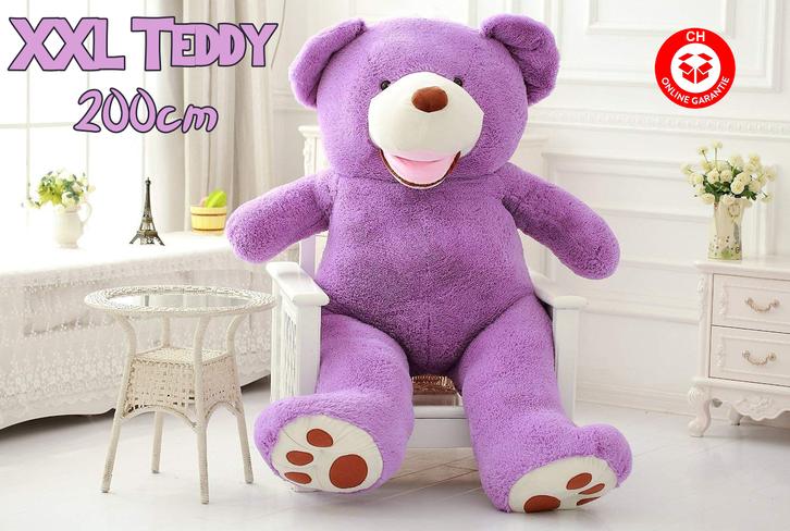 Gigantischer Riesen Teddy Teddybär Plüsch Bär Plüschbär Kuschelbär Plüschteddy Bärli Geschenk Hit Lila Violett Spielzeuge & Basteln