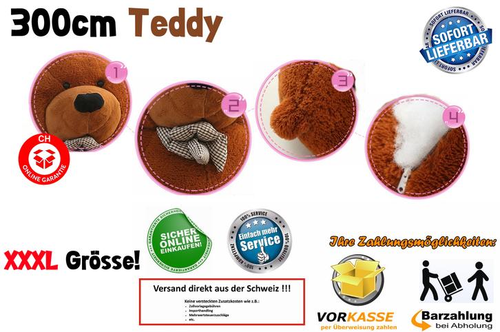 Gigantischer XXXL Plüsch Teddybär Bär Plüschbär Teddy Ted Dunkelbraun Plüschtier Kuscheltier Geschenk Kind Kinder Freundin XXL Baby & Kind 4