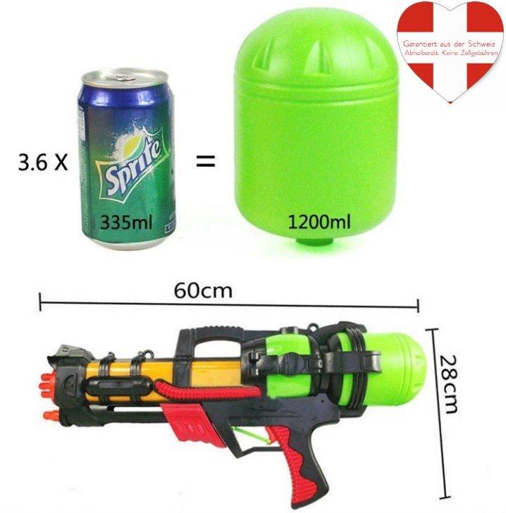 Grosse Wasserpistole 60cm 1.2L Tank Wassergewehr Spritzpistole Pumpgun Blaster Soaker NEU Spielzeug Wasser Sommer Sport & Outdoor 2