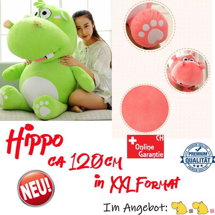 Grosses Plüsch Hippo Nilpferd Flusspferd Geschenk 120cm Pink Grau Süss Geschenk Kind Freundin Antiquitaeten 2