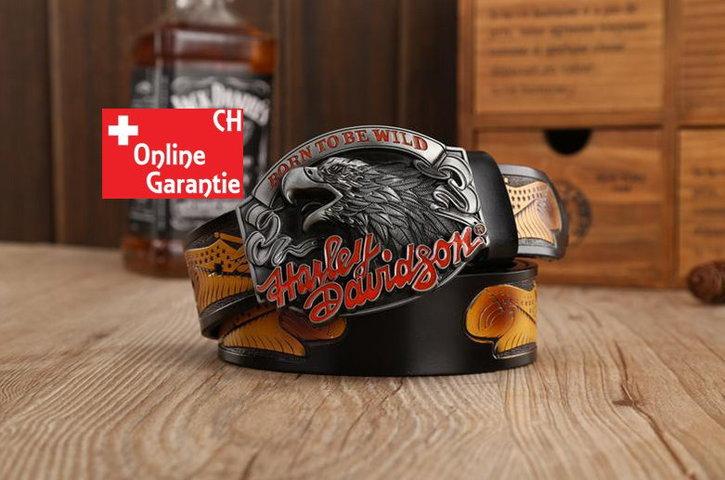 Harley-Davidson Fan Harley Biker Gurt Gürtel Adler Gürtelschnalle Schwarz Kleidung & Accessoires
