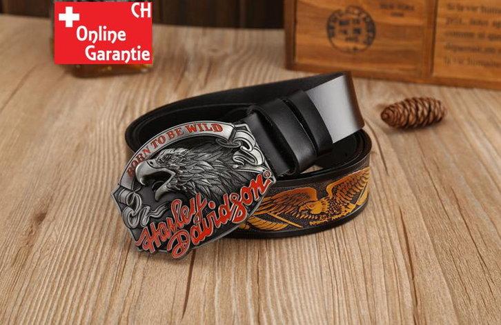 Harley-Davidson Fan Harley Biker Gurt Gürtel Adler Gürtelschnalle Schwarz Kleidung & Accessoires 2