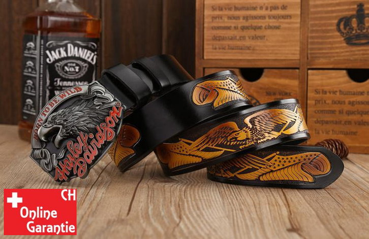 Harley-Davidson Fan Harley Biker Gurt Gürtel Adler Gürtelschnalle Schwarz Kleidung & Accessoires 3