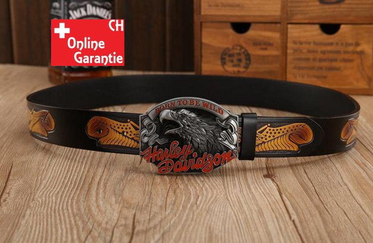 Harley-Davidson Fan Harley Biker Gurt Gürtel Adler Gürtelschnalle Schwarz Kleidung & Accessoires 4