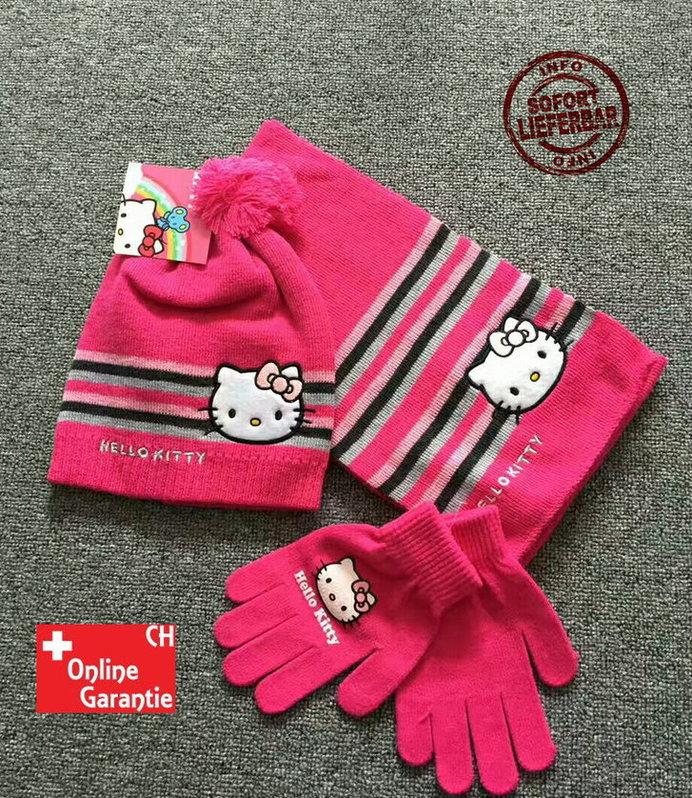 Hello Kitty Hellokitty Cap Mütze Handschuhe Handschuhen und Schal Mädchen Girl Winter Set Winterset Fan Pink Rosa Geschenk Kleidung & Accessoires