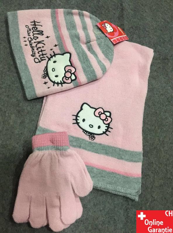 Hello Kitty Kinder Winter-Set 3 tlg. Winter-Mütze, Schal & Handschuhe - Einheitsgrösse für Kinder Mädchen Fan Hellokitty HK Baby & Kind