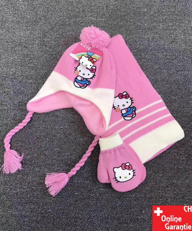Hello Kitty Kinder Winter-Set 3 tlg. Winter-Mütze, Schal & Handschuhe - Einheitsgrösse für Kinder Mädchen Fan Hellokitty HK Kleidung & Accessoires