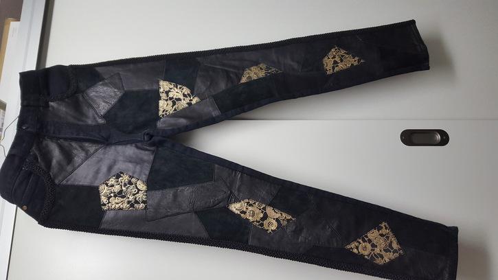 Hose mit Lederfront Kleidung & Accessoires