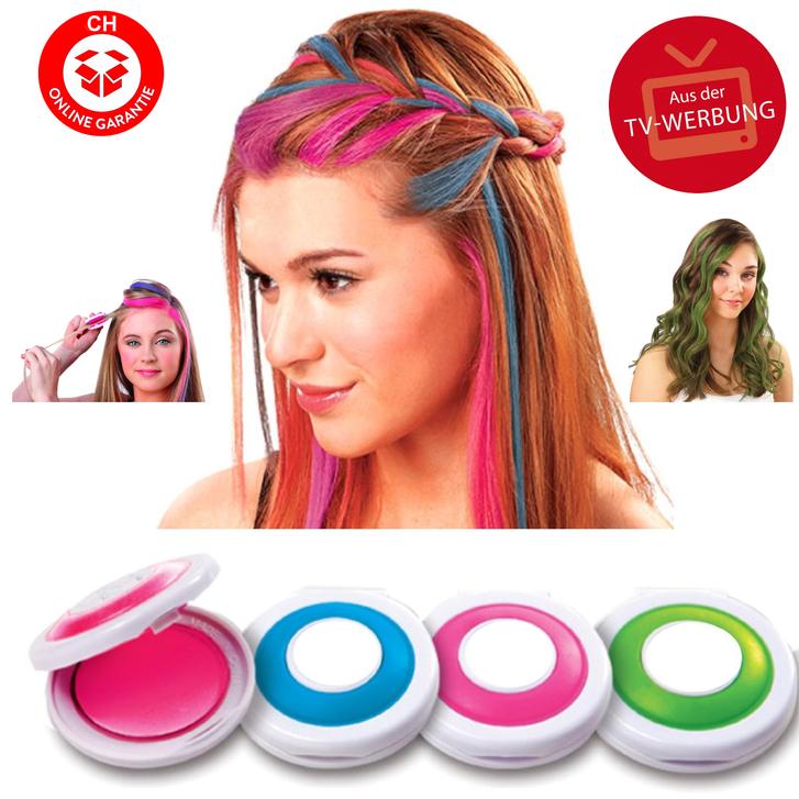 Hot Huez Temporary Hair Chalk - Haarkreide, Tönung, Färben, Farbe - 4 Farben Fasnacht Party Spontan Haarfärbe Frau Kleidung & Accessoires