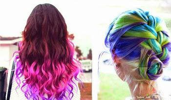 Hot Huez Temporary Hair Chalk - Haarkreide, Tönung, Färben, Farbe - 4 Farben Fasnacht Party Spontan Haarfärbe Frau Kleidung & Accessoires 3